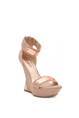 Nude Suede Gold Bar Accent Curved Heel Platform Wedges image