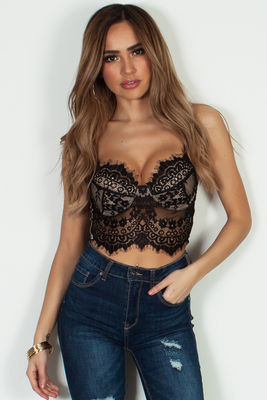 """Ce Soir"" Black And Nude Lace Underwire Bralette image"