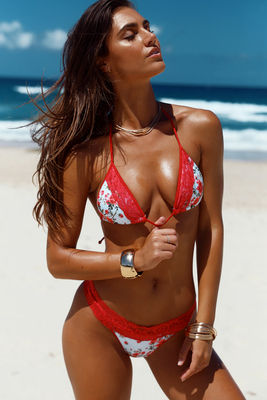 Laguna Single Edge Lace English Rose & Red Bikini Top image