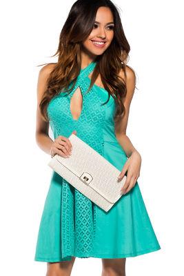Mint Crochet Lace Wrap Halter Party Dress image