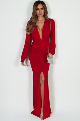 """Divine Feminine"" Red Long Sleeve Deep V Maxi Gown image"