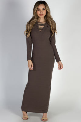 """I Got You"" Cocoa Long Sleeve Lace Up Bodycon Maxi Dress image"
