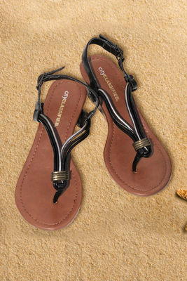 Sandals Flat Black Silver Tied Cords image
