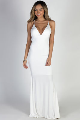 """Moon River"" White Strappy Backless Mermaid Maxi Gown image"