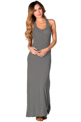"""""""Laurie"""" Black and White Striped Cute Casual Cross Back Tank Maxi Dress image"""