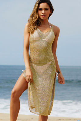 Millionaire Metallic Gold Maxi Cover Up Dress  image