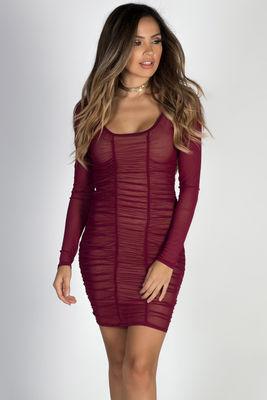 """Beautiful People"" Burgundy Ruched Long Sleeve Mesh Dress image"