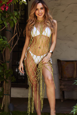 Napoleon Gold Fringed Fishnet Beach Cover Up image