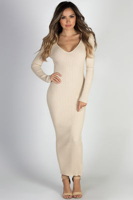 """Autumn Leaves"" Taupe V Neck Bodycon Long Sweater Dress image"