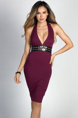 """Marietta"" Burgundy Lace Up Waist Bodycon Halter Dress image"