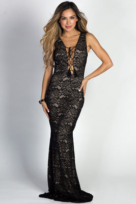 """Helene"" Black Lace Sleeveless Plunging Lace Up Mermaid Maxi Gown image"