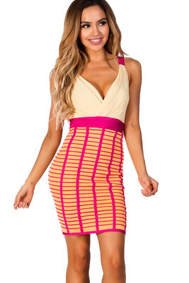 """Becca"" Fuchsia and Citrus Chiffon Top Bandage Cocktail Dress image"