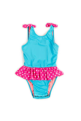 Bella Aqua & Pink Polka Dot Baby/Toddler One Piece Swimsuit image
