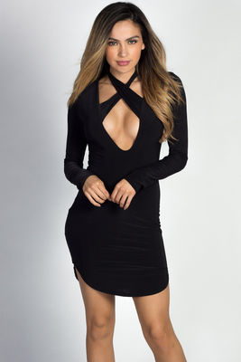 """Angela"" Black Long Sleeve Twist Strap Bodycon Dress image"