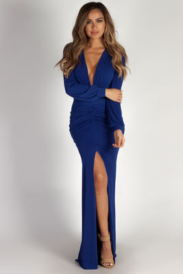 """Divine Feminine"" Royal Long Sleeve Deep V Maxi Gown image"