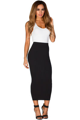 """Holly"" Black Soft Knit High Waisted Midi Pencil Skirt image"