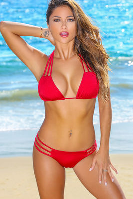 Solid Red Triple Strap Triangle Bikini Top image