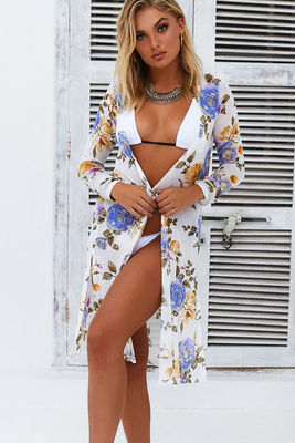 Elderflower White Mesh Peony Floral Beach Cover Up image