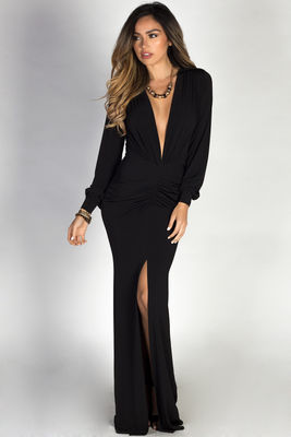 """Theda"" Black Plunging Deep V Long Sleeve Maxi Dress image"