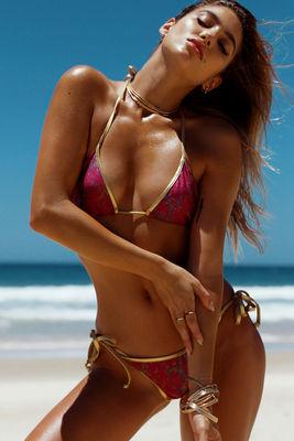 Laguna Magenta Snake Print & Gold Classic Bikini Top image