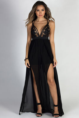 """Nightingale"" Black Sheer Bodice Chiffon Maxi Goddess Gown image"