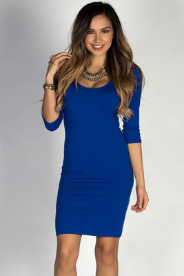 """Dylan"" Royal Blue 3/4 Sleeve Cute and Casual Bodycon Dress image"
