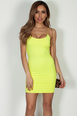 """All Or Nothing"" Neon Yellow Spaghetti Strap Mini Dress image"