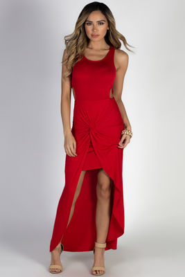 """Bad at Love"" Red Sleeveless Side Cutout Maxi Dress  image"