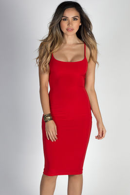 """Effortless Beauty"" Red Spaghetti Strap Bodycon Midi Dress image"