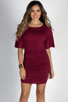"""Hannah"" Burgundy Dolman Sleeve Ruched Jersey Dress image"