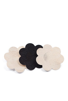 3-Pack Beige and Black Breast Petals Adhesive Nipple Covers image