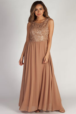 """Sweet Bliss"" Dark Champagne Sleeveless Crochet Lace Maxi Dress image"