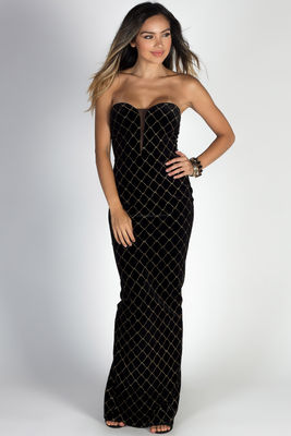 """Masquerade"" Black & Gold Diamond Pattern Strapless Velvet Maxi Gown image"