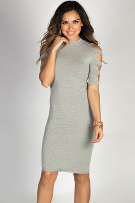 """Rosalind"" Heather Grey Ladder Cut Out Mock Neck Bodycon Dress image"