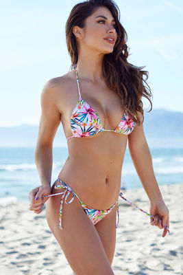 Surfside Rainbow Tropical Print Triangle Bikini Top image