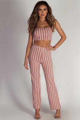 """Free At Last"" Mauve Striped Cropped Tube Top & Pants Set image"