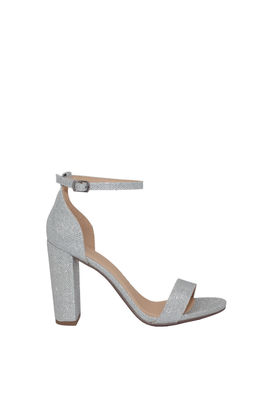 """""""On the Runway"""" Silver Shimmer Open Toe Chunky High Heels image"""