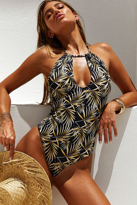 Heather Black Palm Keyhole Halter One Piece Swimsuit image