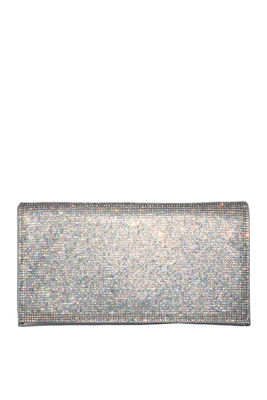 Silver Rhinestone Emblazoned Small Clutch image