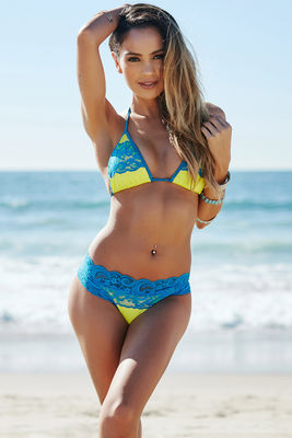 Maui Neon Yellow & Turquoise Lace Triangle Top image