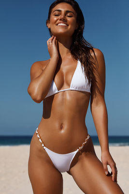 White Triangle Bikini On a Chain Top image