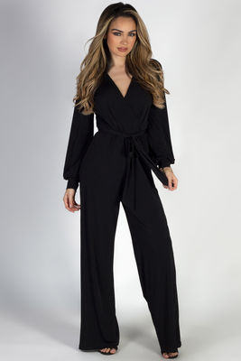 """Confidence"" Black Long Sleeve Wide Neck Jumpsuit image"