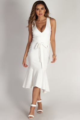 """You Don't Have To Call"" White Fit & Flare Waist Tie Maxi Dress image"