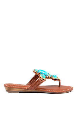 Chestnut 'Wonderful' Bejeweled Black T-Strap Flat Sandals image