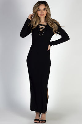 """Giving Me Feels"" Black Crisscross V Neck Bodycon Maxi Dress image"