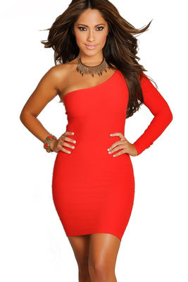 """""""Vivica"""" Red One Shoulder Bodycon Club Dress image"""