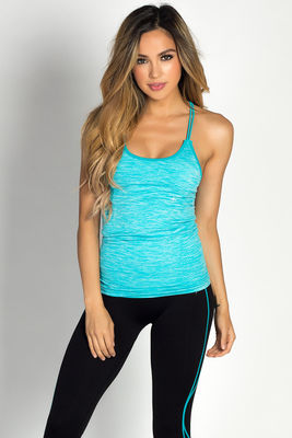 """""""Chakra"""" Turquoise Blue Strappy Sport Performance Top image"""