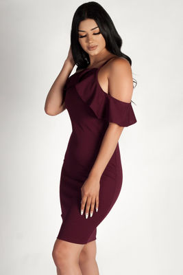 """Better Off Alone"" Plum Cold Shoulder Halter Dress image"