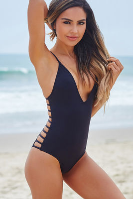 Peony Black Deep V Side Cut Out Sexy One Piece Swimsuit image