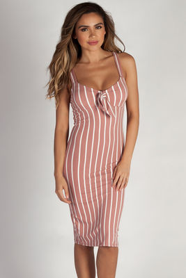 """Eye Candy"" Mauve Striped Sweetheart Midi Dress image"